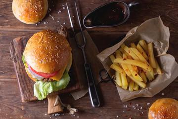 Burger and potatoes