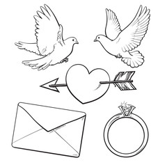 Wedding, engagement icon set with doves, arrow pierced heart, ring and love letter, sketch style vector illustration isolated on white background. Wedding attributes - doves, ring, heart, kiss