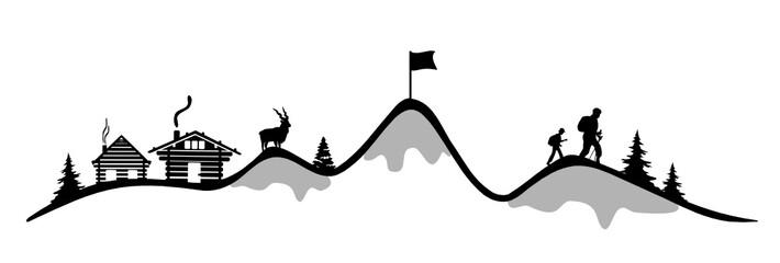 Skifahrer mit Bergsilhouette