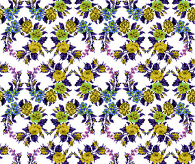 Wallpapers or textile. Color circle  bouquet of flowers (roses, chamomile and cornflowers) using Ukrainian embroidery elements.  Yellow, blue, green and violet tones. Seamless. Pattern. Pixel-art.