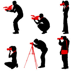 Set cameraman with video camera. Silhouettes on white background. Vector illustration