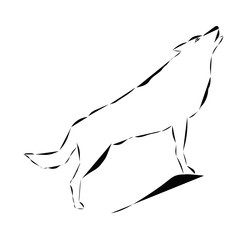 Schematic logo icon of howling wolf.