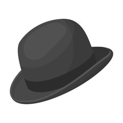 Bowler hat icon in monochrome style isolated on white background. Hipster style symbol stock vector illustration.