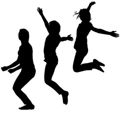 Silhouette of three young girls jumping with hands up, motion. Vector illustration