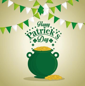 saint patrick day treasure pot vector illustration design