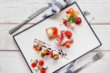Snack Delicatessen Appetizer Gourmet Wine Tapas Luxury Restaurant Menu Concept