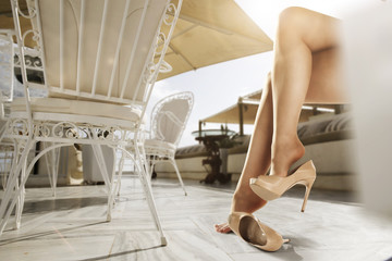 woman legs and heels