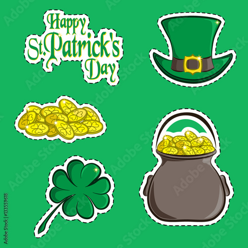 Vector Set Of Design Element And Scrapbook Object Of St Patricks