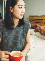Woman drink morning coffee.
