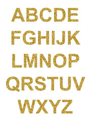 alphabet majuscules pailettes or