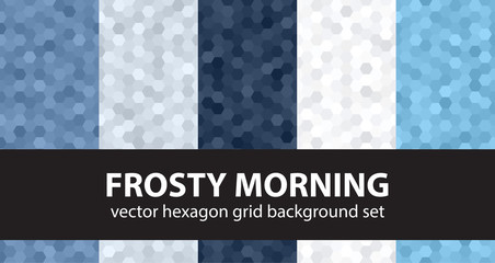 "Hexagon pattern set ""Frosty Morning"". Vector seamless backgrounds"