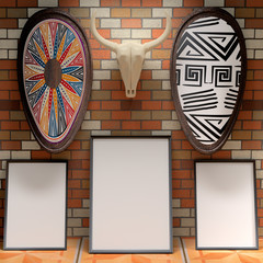Mocap African interior gallery. Blank picture on a brick wall. S
