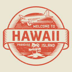 Stamp with the text Welcome to Hawaii, Paradise island
