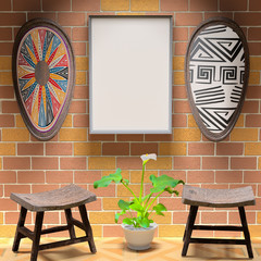 Mocap African interior living room. Empty paintings and shield w