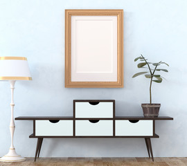 Mock up retro interior. Light wooden cabinet with dark legs and