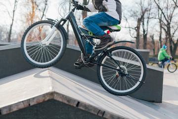 Boy riding bikes in the skate park