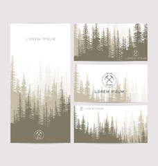 Business cards design set of brown forest and mountains backgrounds. Templates design for greeting, prints, web design, invitation. Set of stylish cards. Vector illustration. Hipster logo tourism.