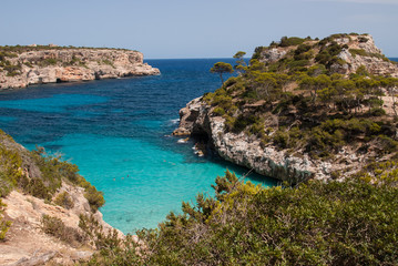 Panoramic view of Calo des Moro beach