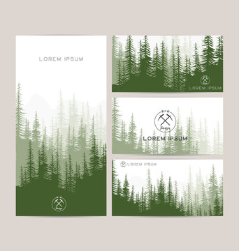 Business cards design set of green forest and mountains backgrounds. Templates design for greeting, prints, web design, invitation. Set of stylish cards. Vector illustration. Hipster logo tourism.