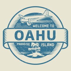 Stamp with the text Welcome to Oahu, Paradise island