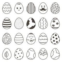 Set, collection of cute monochrome doodle easter eggs for coloring book and design.