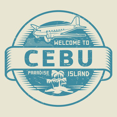 Stamp with the text Welcome to Cebu, Paradise island