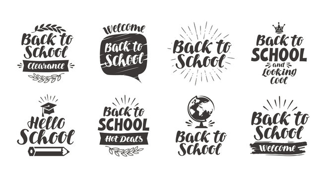 Back to school, set icons. Handwritten lettering. Label vector illustration