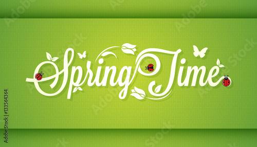 Spring Time Vintage Lettering Design Background.
