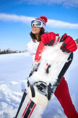 Sport  woman with snowboard outdoors