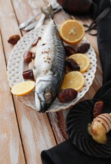 mackerel is baked figs with honey and onions, healthy food. selective focus.