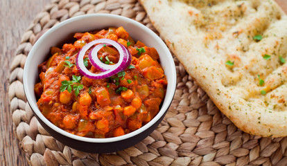 Chickpea Vegetarian Curry  -  Chana Masala with Naan Bread.
