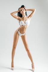 pretty girl in white bodysuit
