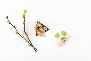 Easter holiday attributes sets. Quail eggs, green woolen crochet hearts, feathers, cherry and apricot branches on white background. Easter holiday eco concept.