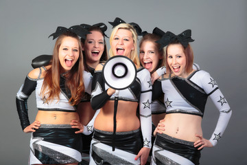 Cheerleader Team With Megaphone