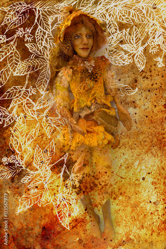 bright yellow sunny dwarf puppet figure on abstract ornamental background.