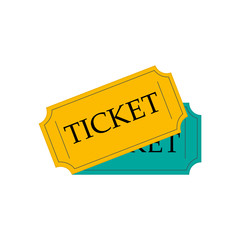 Ticket icon vector illustration in the flat style.