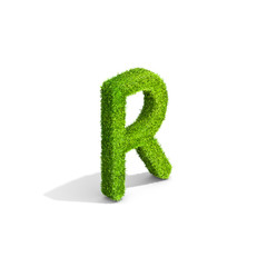 Grass letter R in uppercase format from isometric angle with shadow on ground.