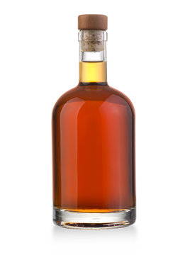 whiskey bottle on white
