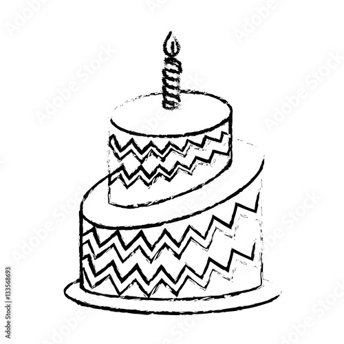 """birthday cake icon image sketch line vector illustration ..."