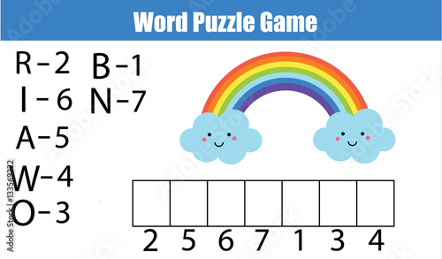 Words Puzzle Children Educational Game With Numbers Code
