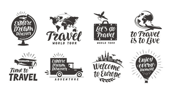 Travel set icons. Handwritten lettering. Label vector illustration