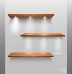 Vector Empty Wooden Shelves Isolated on Wall Background