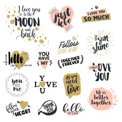 Valentine day signs collection. Hand drawn vector illustrations for greeting cards, love messages, social media, networking, web design.