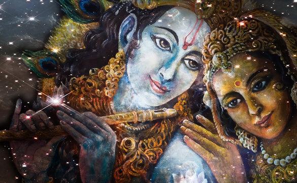 Krishna and Radha, beautiful hindu divine couple, painting collage.