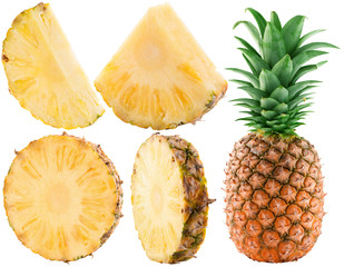 set of pineapple slices isolated on the white background