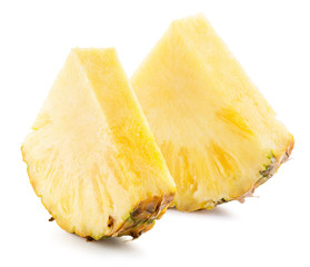 pineapple slices isolated on the white background