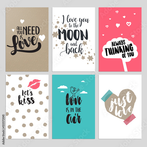 Set of Valentine day greeting cards Flat design vector