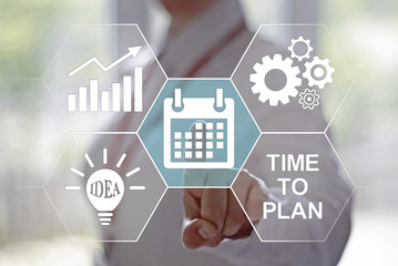 Business, finance, technology and internet concept - businesswoman pressing calendar button on virtual screens. Time planning in the business. Time management. Designed in the style of a hexagon.