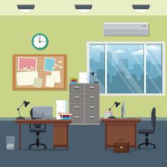 office workspace desks cabinet board notice clock lamp window vector illustration