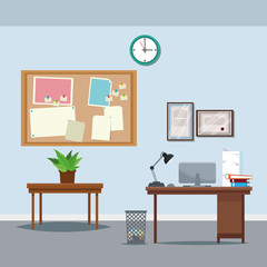 office workspace desk table potted plant clock notice board trash can laptop vector illustration